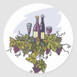 Wine Tasting Grapes Vineyard Invitation Party Classic Round Sticker